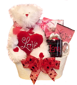 Love Gift Basket with Chocolate and Snacks
