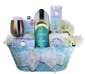 Luxury Spa Gift Basket with Wine by Thoughtful Expressions Gift Baskets Canada.