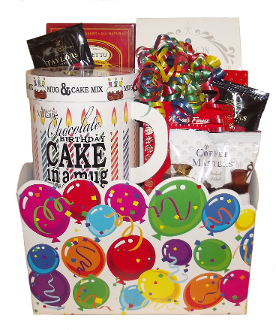 Birthday Cake and Gourmet Snacks Gift Basket