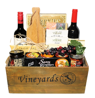 Vineyards crate wine gift basket thoughtful expressions gift wine and cheese wooden crate deluxe gift basket negle Images