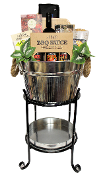 Drink stand BBQ gourmet gift basket.