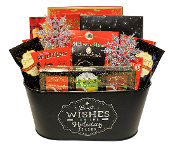 Holiday Wishes Gourmet Gift Basket with assorted snacks. Canada wide shipping.