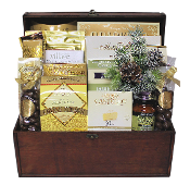 Gourmet Christmas Gift Basket in wooden trunk.