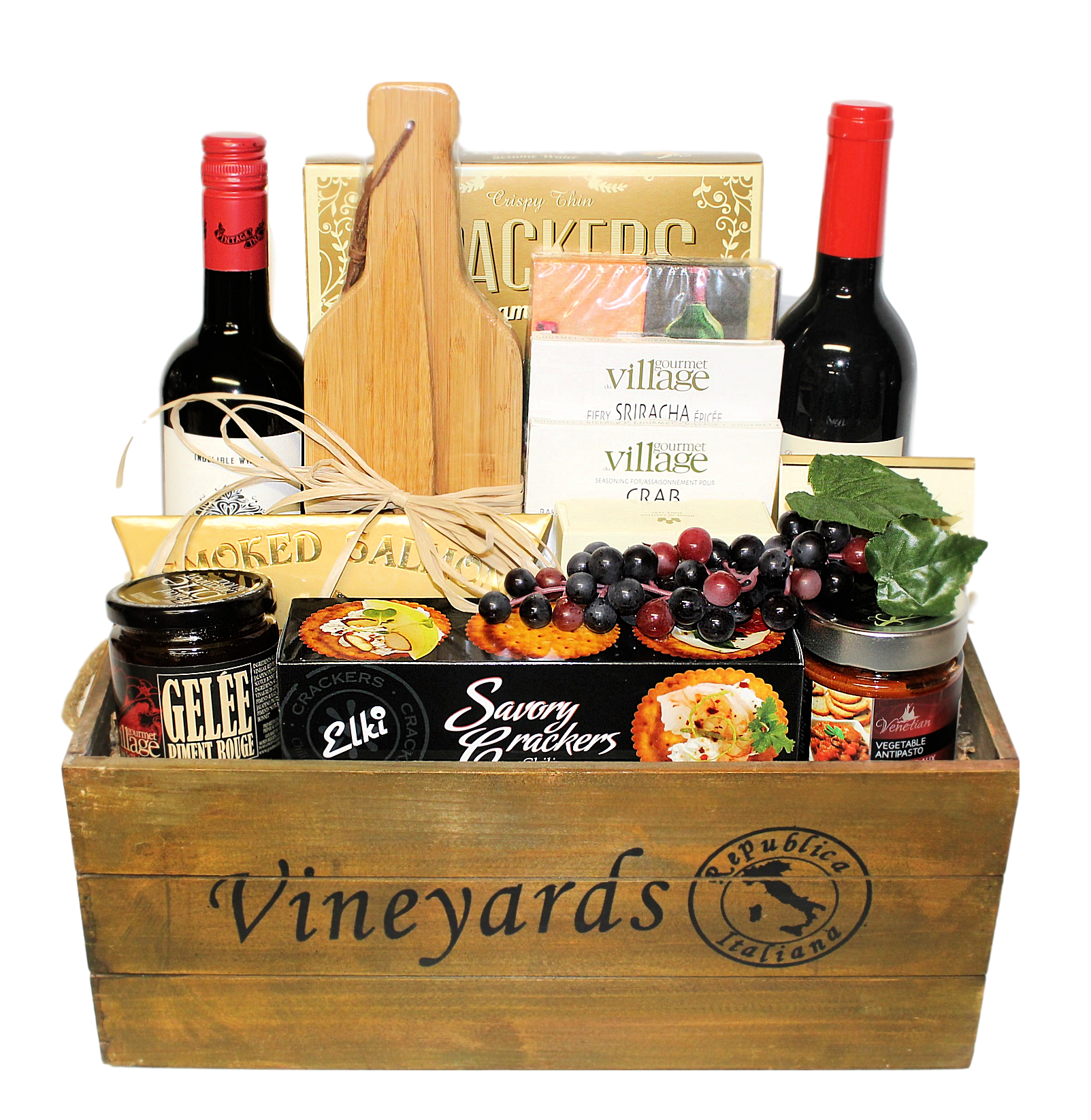 Gift baskets canada thoughtful expressions gift baskets fort wine and cheese wooden crate deluxe gift basket negle Images