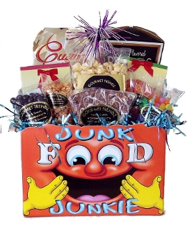 Junk Food Junkie Gift Basket with assorted snacks
