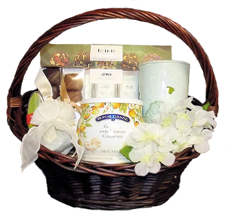 Tea Lover Gift Basket with gourmet snacks and assorted tea. Canada wide shipping and local delivery.