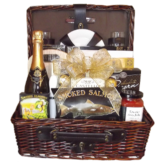 Picnic Gift Basket with assorted snacks and wine by Thoughtful Expressions.