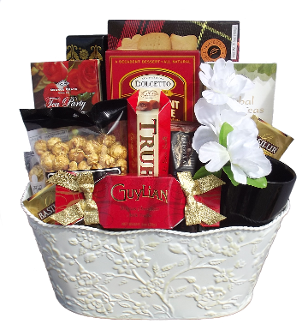 Tea Lover Gift Basket with Gourmet Tea and Snacks.