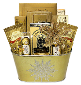 gourmet gift basket with snacks in and gold snowflake container for christmas