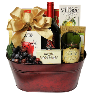 Red Wine and Gourmet Delights Gift Basket