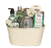 Zen Gift Basket with Fuji Green Tea Bath Products and Premium Tea