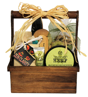 hemp bath products gift basket with bath accessories in wooden storage caddy