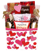 Be My Valentine Gift Basket with gourmet treats and hot chocolate.