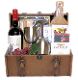 wine and cheese celebration gift basket in wooden trunk by Thoughtful Expressions Gift Baskets Canada