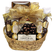 Chocolate Lover Gift Basket with assorted chocolate snacks and drinks.
