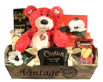 Valentine Gift Basket with teddy bear and chocolates by thoughtful expressions gift baskets.