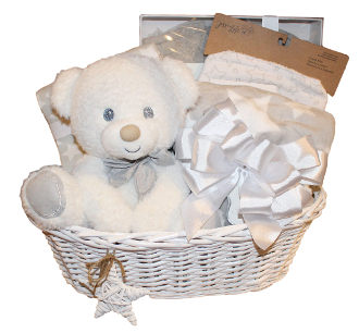 Baby gift basket in grey and white with star themed gifts inside. Baby gifts online Canada.