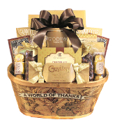 Thank You Gift Basket containing assorted snacks and drinks. Available at Thoughtful Expressions Gift Baskets Canada in Fort St. John, BC.