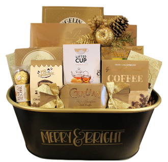Merry & Bright Holiday Gift Basket for Christmas