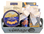 Gourmet gifts in a vintage themed container.