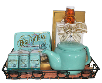 Tea Time Gift Tray with Fine English Tea and Assorted Snacks by Thoughtful Expressions Gift Baskets.